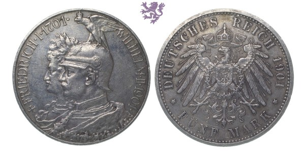 5 mark, 1901. Wilhelm II