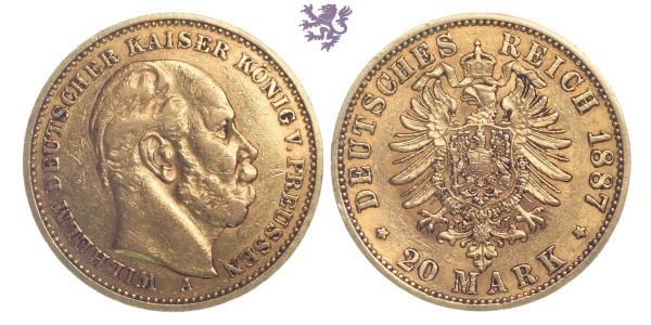 20 mark, 1887. Wilhelm I