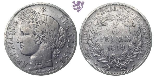 5 francs, 1849. A, Republic