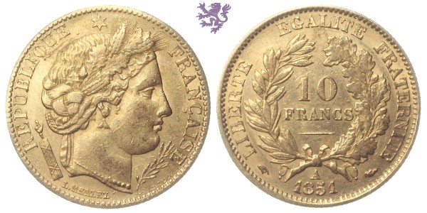 10 francs, 1851. republic