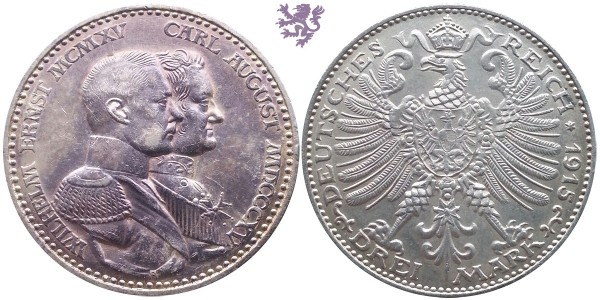 3 mark 1915.  100th Anniversary of the Grand Duchy of Saxe-Weimar-Eisenach