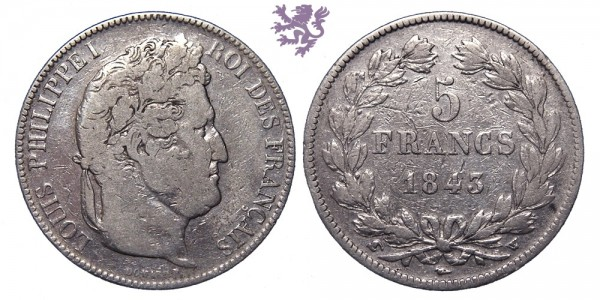 5 francs, 1843. W, Luis Philippe I
