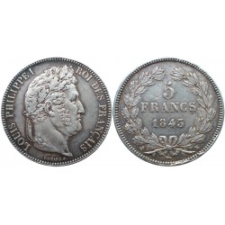 5 francs, 1843. K, Luis Philippe I