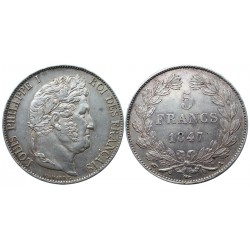 5 francs, 1847. A, Luis Philippe I