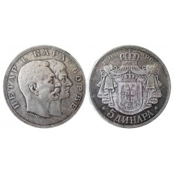 5 dinara, 1904. Petar I i Karadjodje