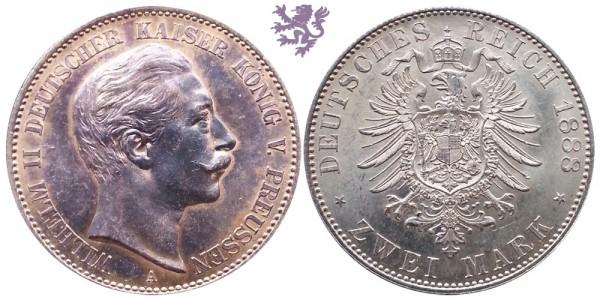 2 mark, 1888. Wilhelm II
