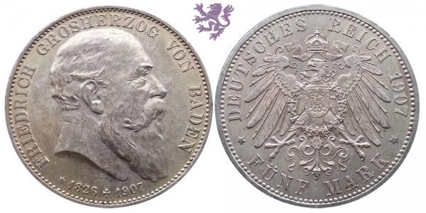 5 mark, 1907, Friedrich Grosherzog