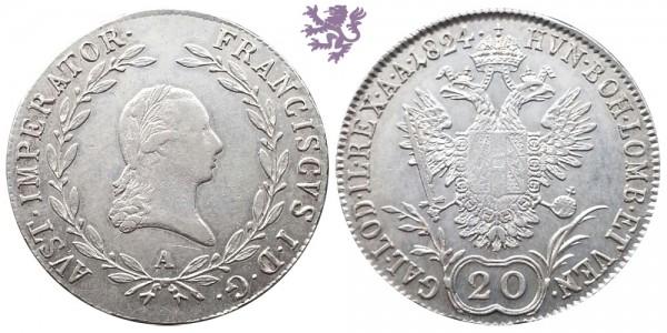 20 krajcra, 1824. Franz I