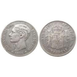 5 pesetas, 1878. Alfonso XII
