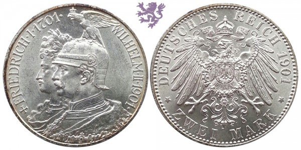 2 mark, 1901. Friedrich I 1701 - 1901