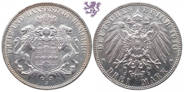 3 mark, 1910. Hamburg