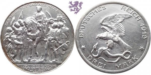 3 mark, 1913. Wilhelm II
