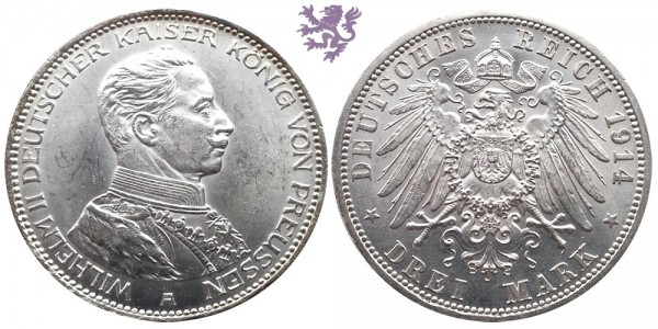 3 mark, 1914. Wilhelm II