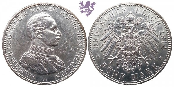 5 mark, 1914. Wilhelm II