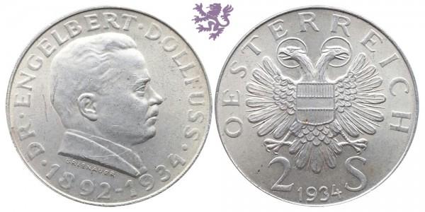 2 schilling, 1934. Engelbert Dollfuss