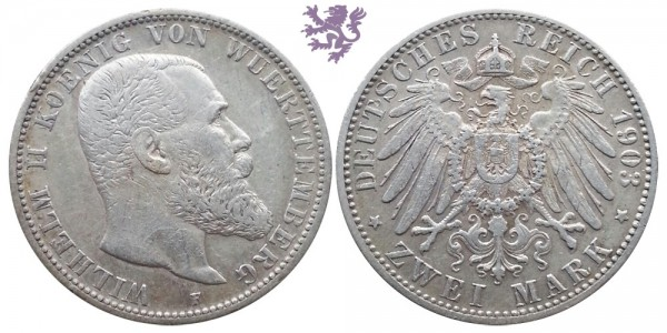2 mark, 1903. Wilhelm II