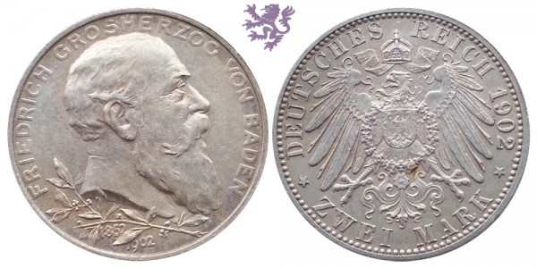 2 mark, 1902. Friedrich Grosherzog