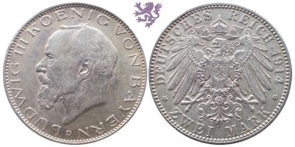 2 mark, 1914. Ludwig III Koenig