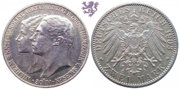 2 mark, 1903. Wilhelm&Caroline