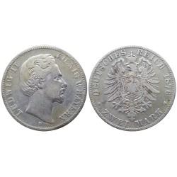 2 mark, 1876. Ludwig II