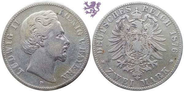 2 mark, 1876. Ludwig II