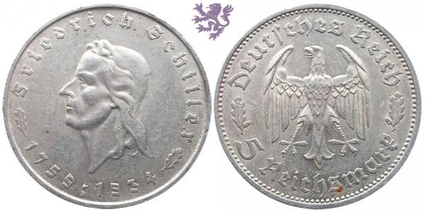5 Reichsmark, 1934. Friedrich Schiller