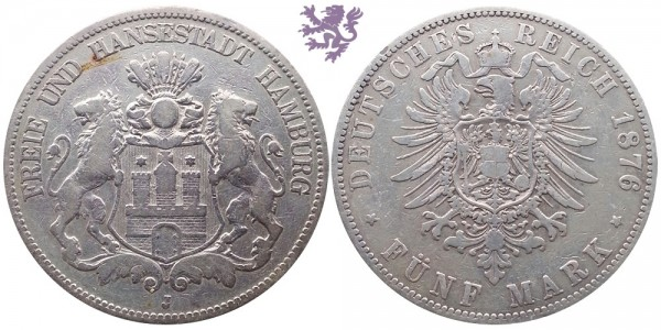 5 mark, 1876. Hamburg