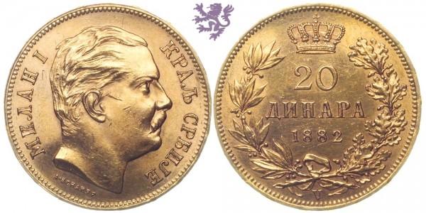 20 dinara, 1882. Milan I