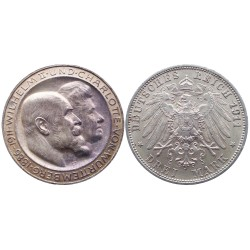 3 mark, 1911. Wilhelm II&Charlotte