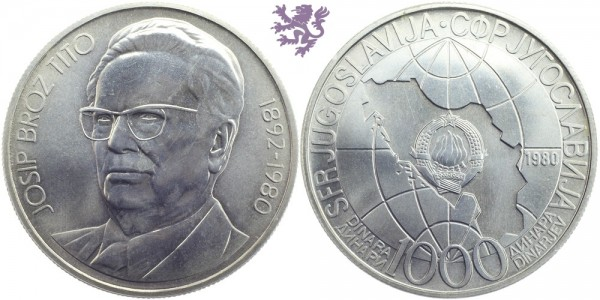 1000 dinara, 1980.