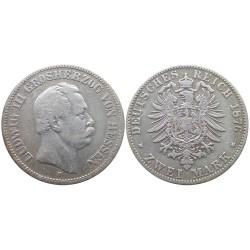 2 mark, 1876. Ludwig III Grosherzog von Hessen