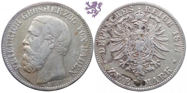 2 mark, 1877. Friedrich Grosherzog von Baden