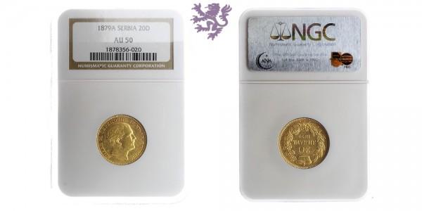 20 dinara, 1879. Milan Obrenovic