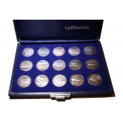 Lufthansa Airlines full set 15 Silver coins of aircraft fleet 1955-1983