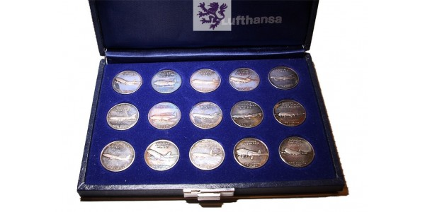 Lufthansa Airlines full set 15 collection Silver coins of aircraft fleet 1955-1983