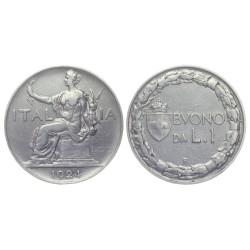 1 Lira, 1924. Vittorio Emanuele III