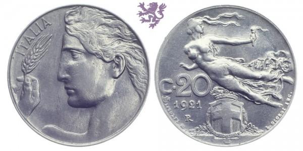 20 Centesimi, 1921. Vittorio Emanuele III