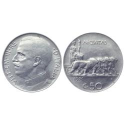 50 Centesimi, 1921. Vittorio Emanuele III