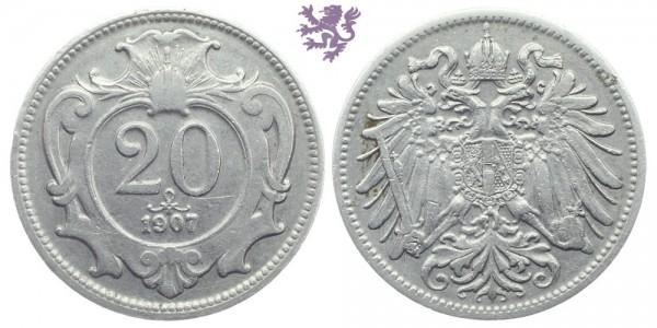 20 Heller, 1907. Franz Joseph I