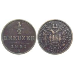 1/2 Kreuzer, 1851. B, Franz Joseph I