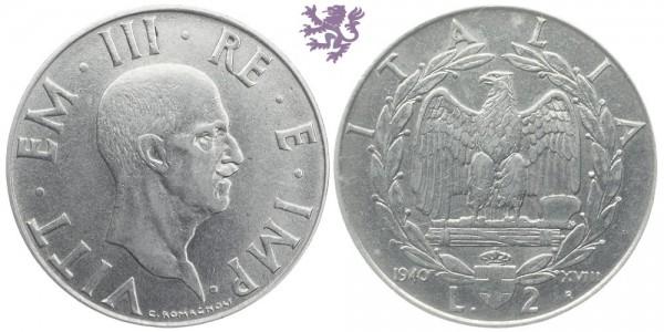 2 Lire, 1940. Vittorio Emanuele III