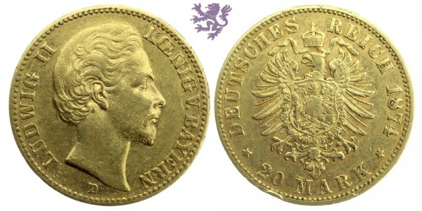 20 mark, 1874. Ludwig II