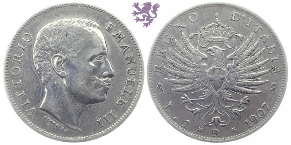 1 Lira, 1907. Vittorio Emanuele III