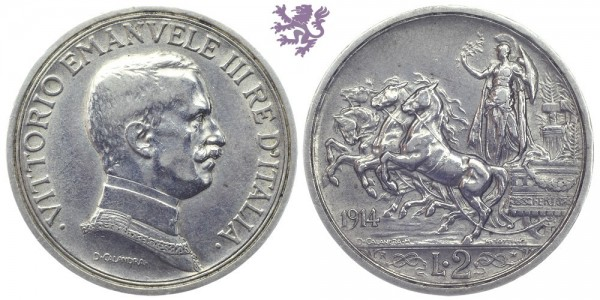 2 Lire, 1914. Vittorio Emanuele III