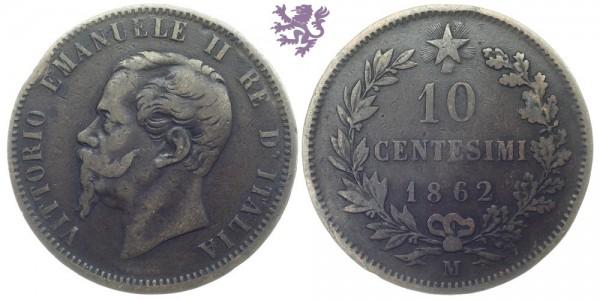 10 Centesimi, 1862. Vittorio Emanuele II