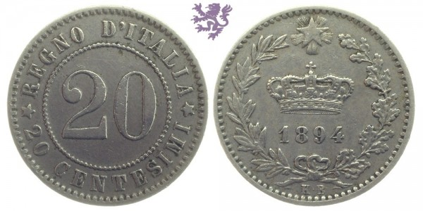 20 Centesimi, 1894.KB Umberto I