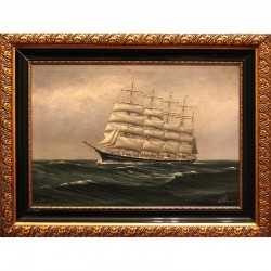 Old sailboat, oil on canvas (1870 - 1950)
