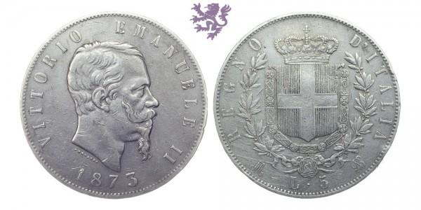 5 Lire, 1873. Vittorio Emanuel II