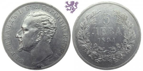 5 Leva, 1894. Ferdinand I