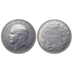 5 dinara, 1879. Milan Obrenović IV